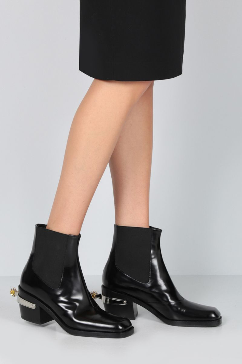 NODALETO: Bulla western boots in smooth leather Color Black_2
