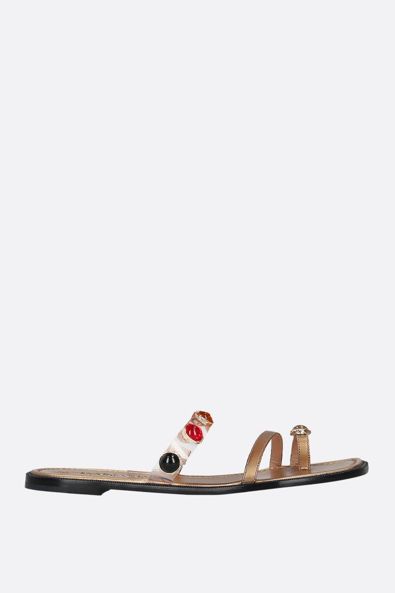 NODALETO: Bulla Salem laminated nappa thong sandals_1