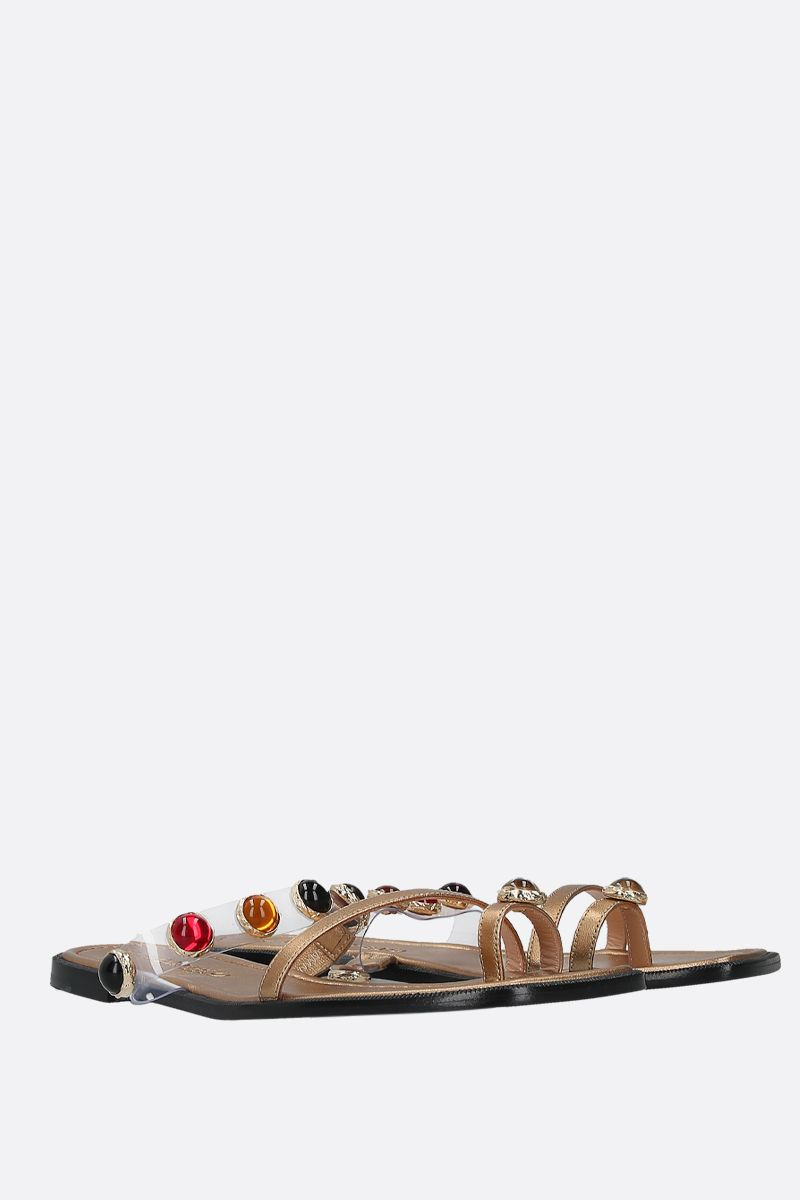 NODALETO: Bulla Salem laminated nappa thong sandals_2