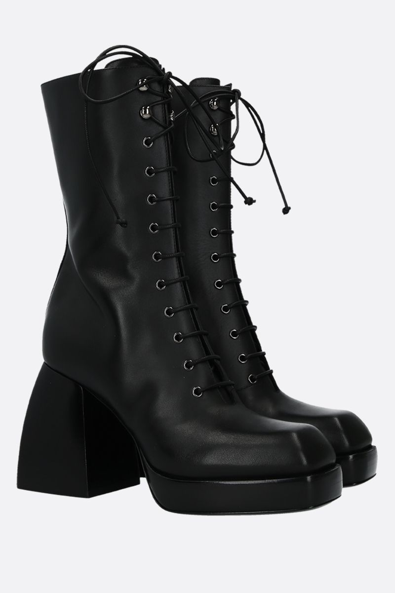 NODALETO: Bulla lace-up boots in smooth leather Color Black_2