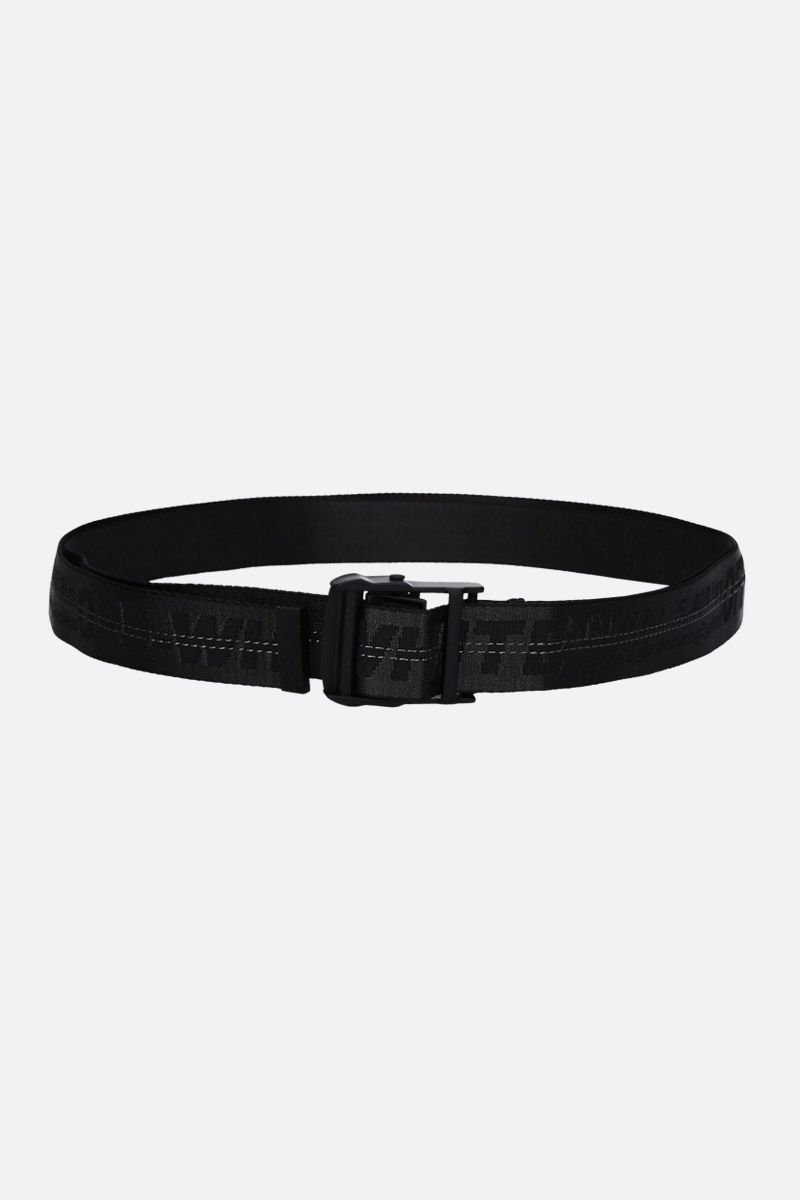 OFF WHITE: Classic Industrial belt in logoed fabric Color Black_1
