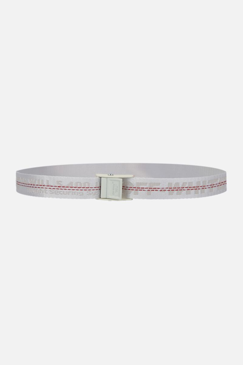 OFF WHITE: Classic Industrial logoed fabric belt Color White_1
