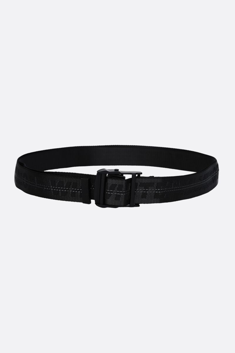 OFF WHITE: Classic Industrial logoed fabric belt Color Black_1