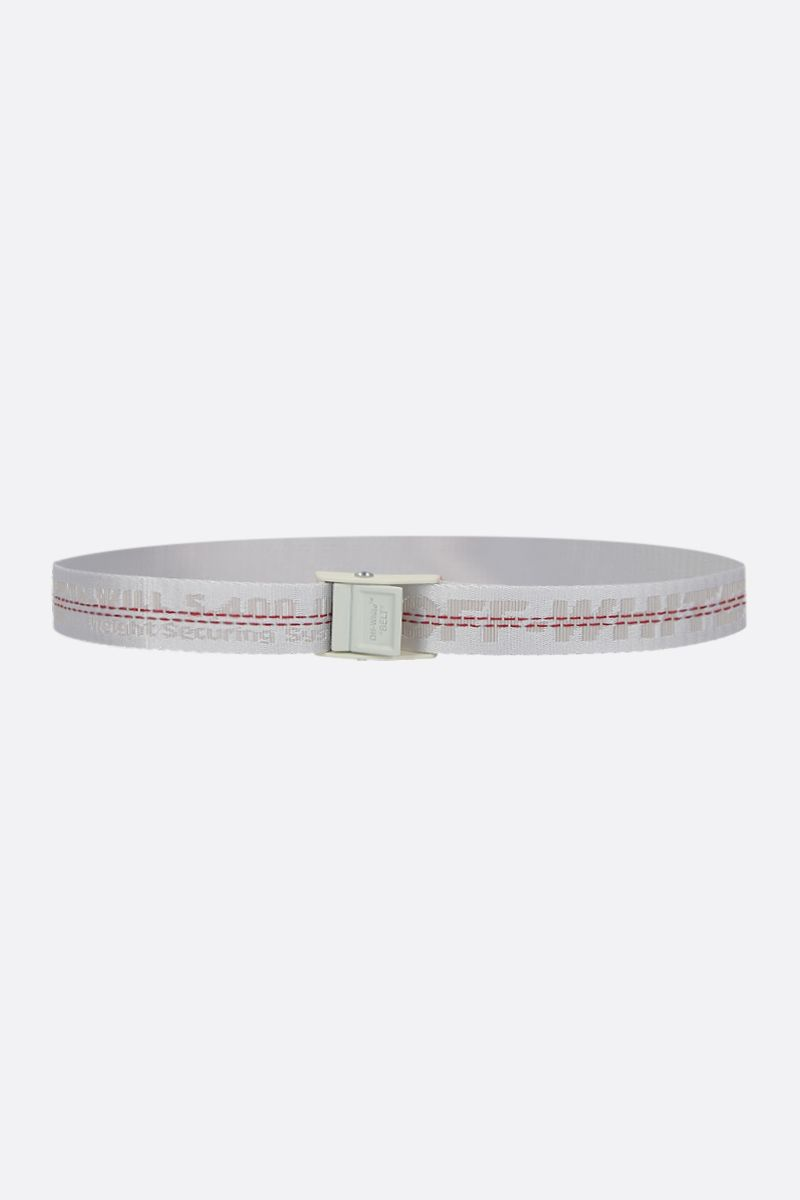 OFF WHITE: Industrial Mini belt in logoed fabric Color White_1
