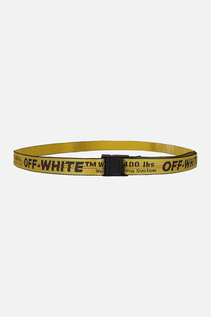 OFF WHITE: Industrial Mini belt in logoed fabric Color Yellow_1