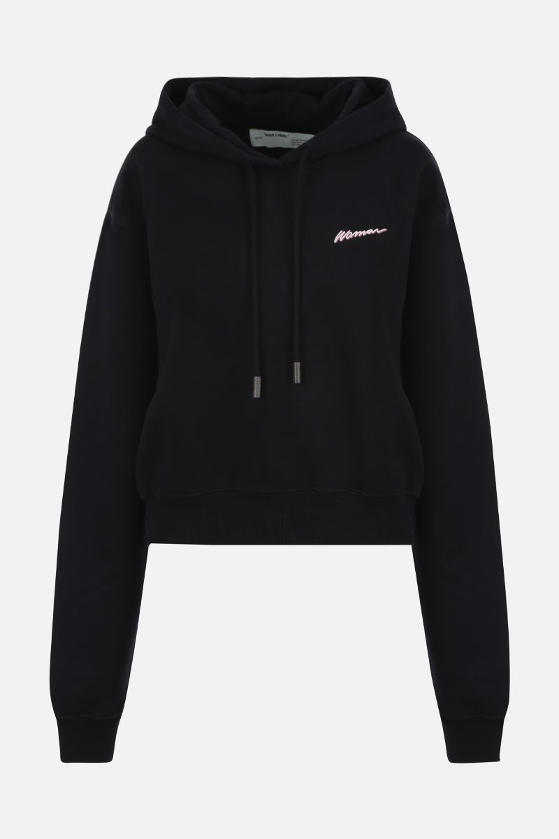 OFF WHITE: Woman cotton cropped hoodie Color Black_1