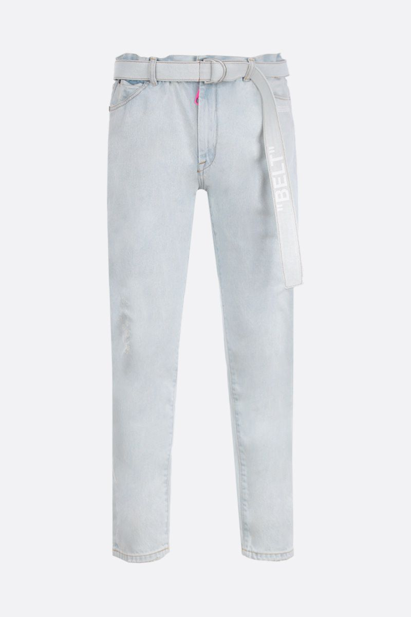 OFF WHITE: slim low crotch jeans Color White_1