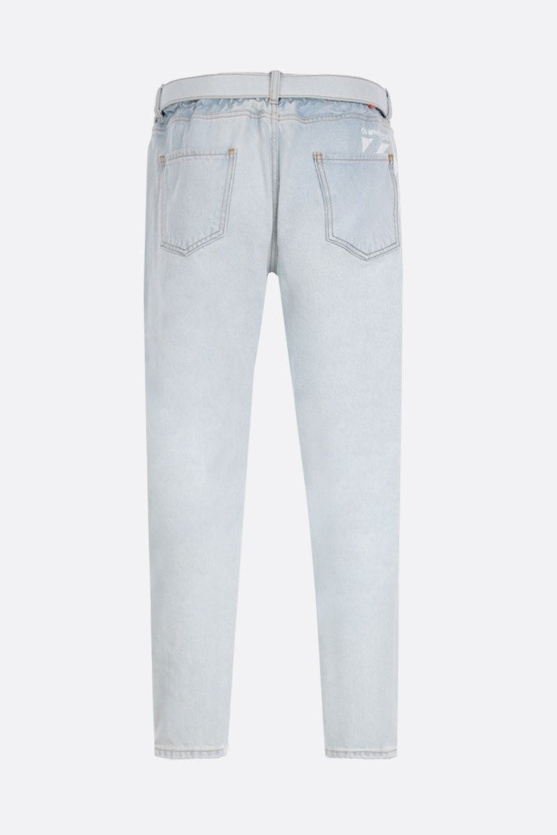 OFF WHITE: slim low crotch jeans Color White_2