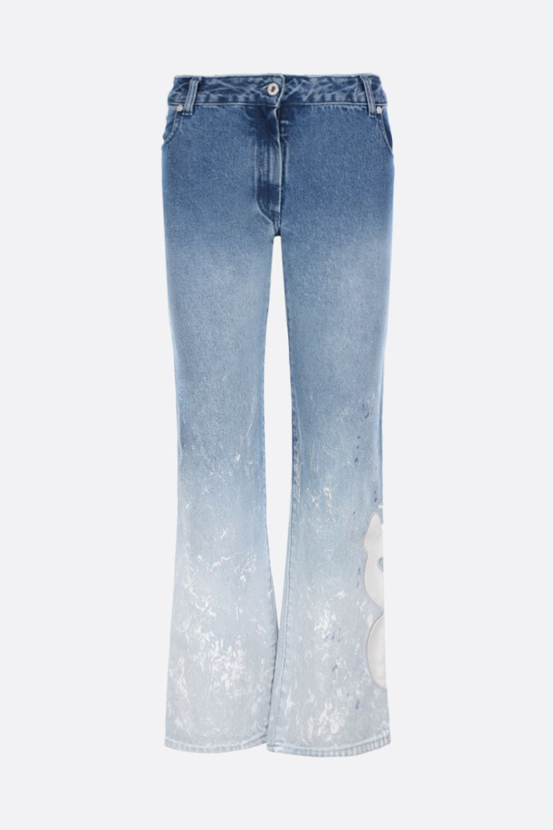 OFF WHITE: jeans cropped con patch OFF Colore Blu_1