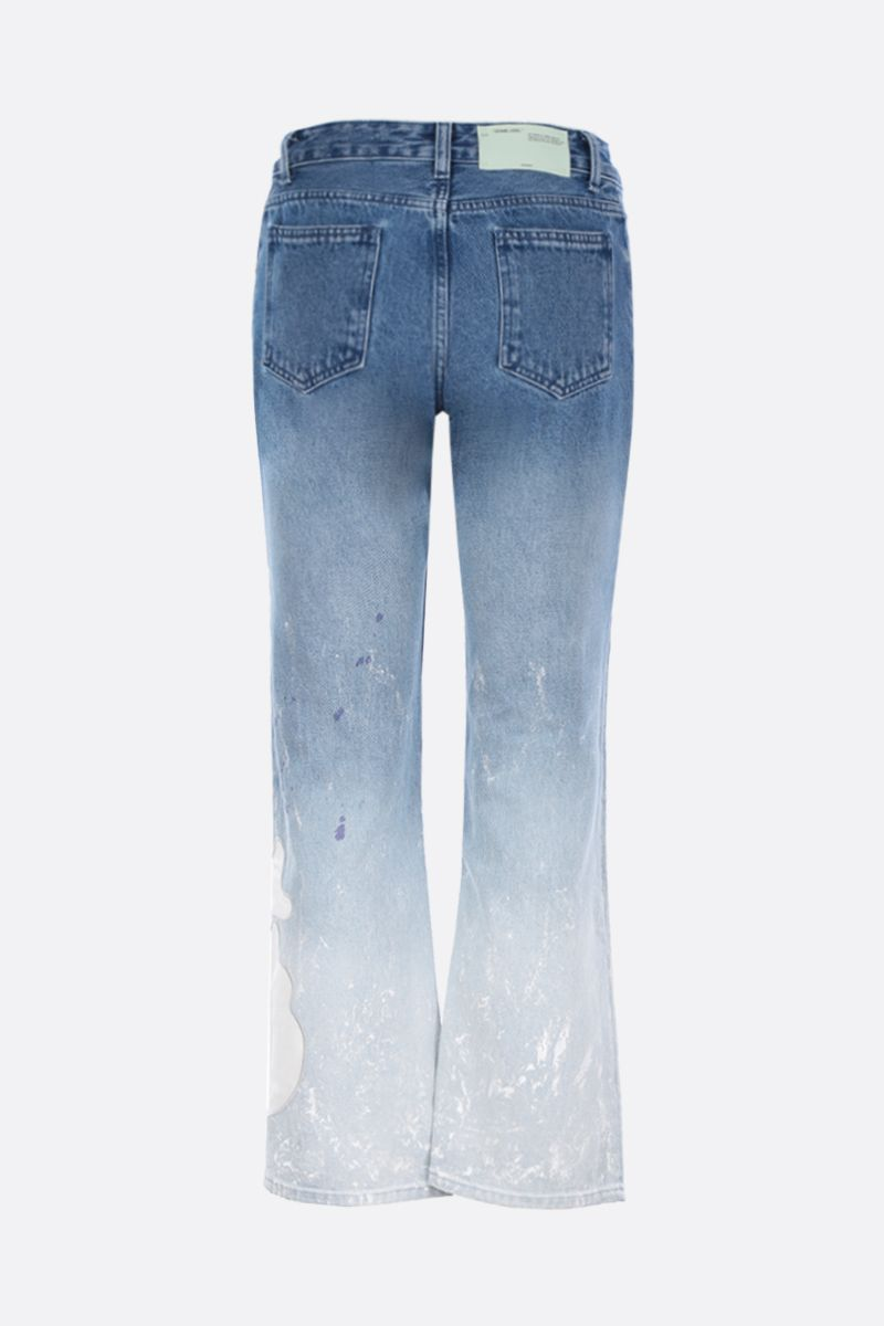 OFF WHITE: jeans cropped con patch OFF Colore Blu_2