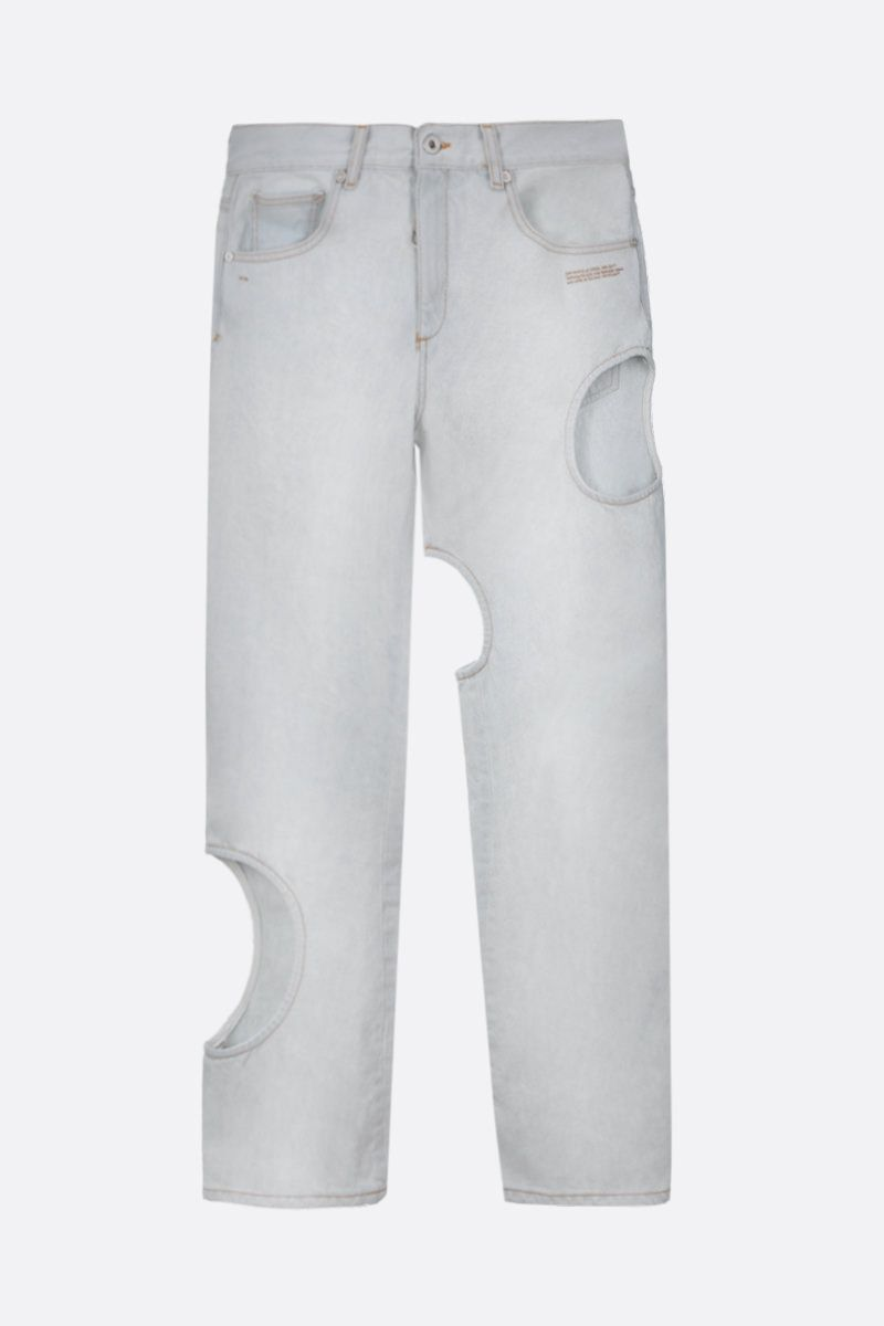 OFF WHITE: Hole baggy-fit jeans Color Blue_1