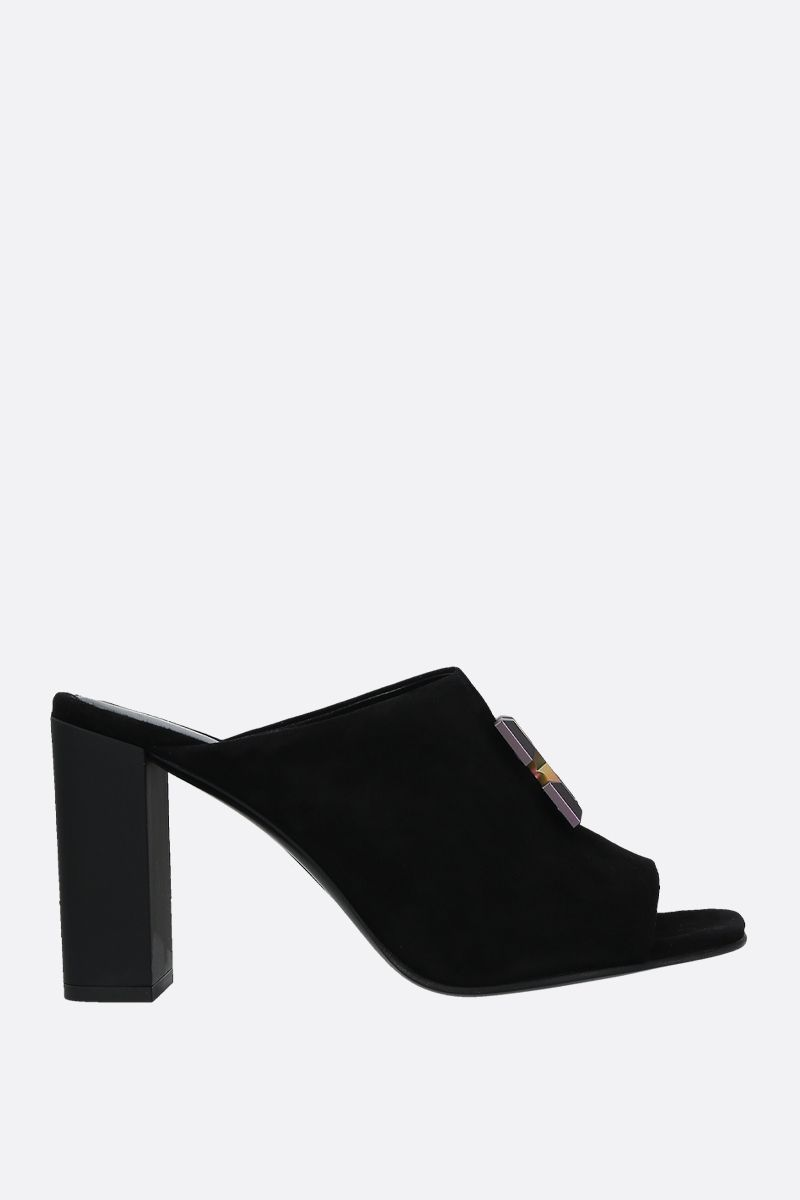 OFF WHITE: sandalo mule Arrow in suede Colore Nero_1
