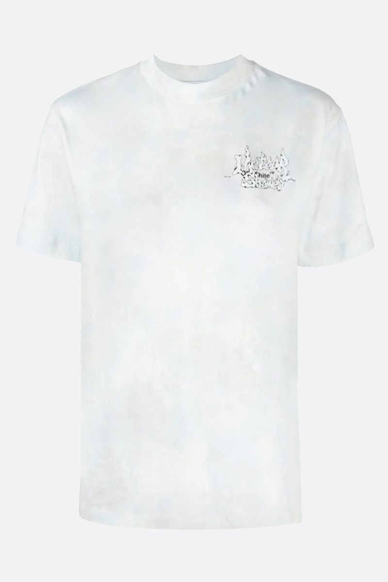 OFF WHITE: t-shirt Meteor Shower in cotone Colore Blu_1