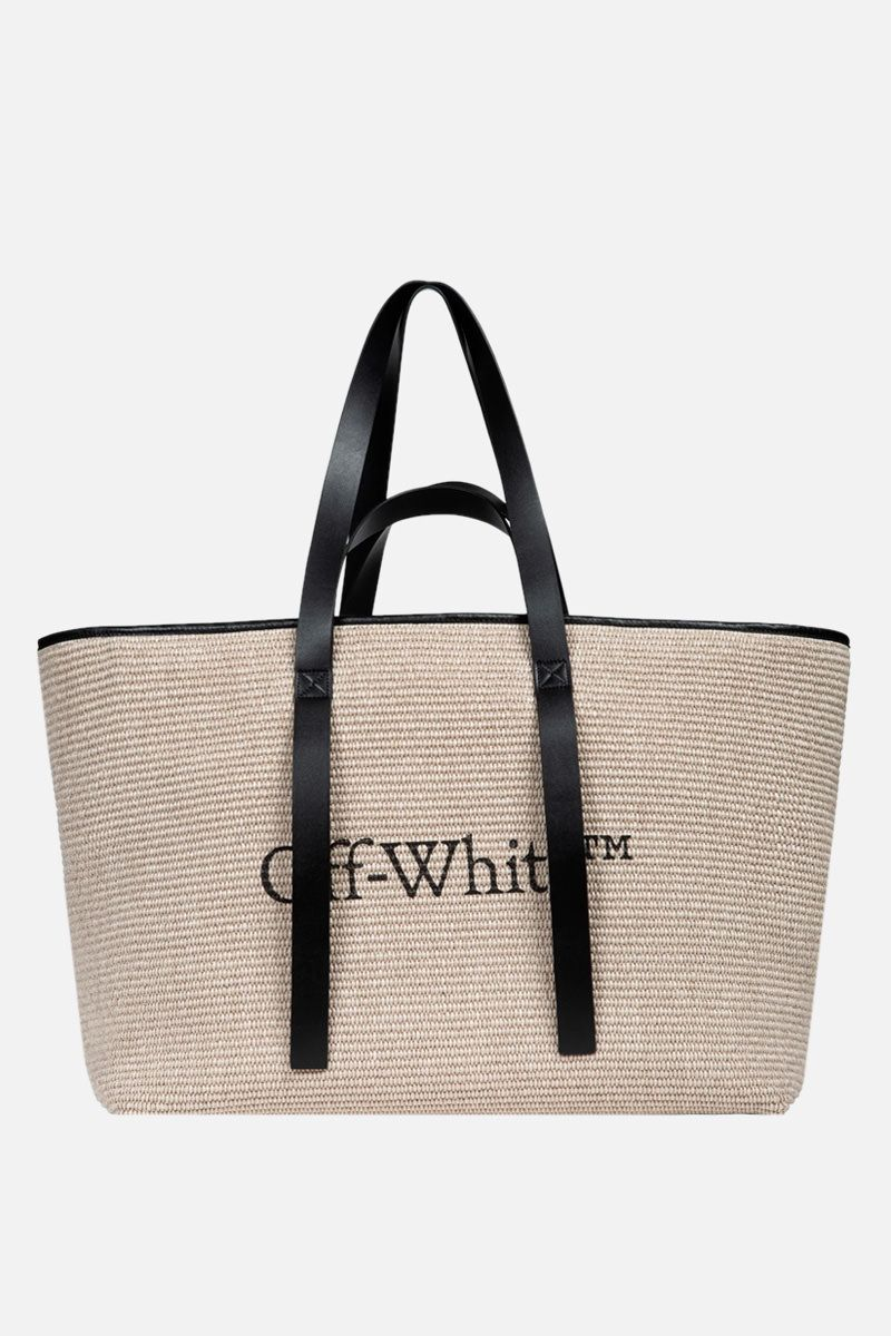 OFF WHITE: woven canvas commercial tote bag Color Neutral_1