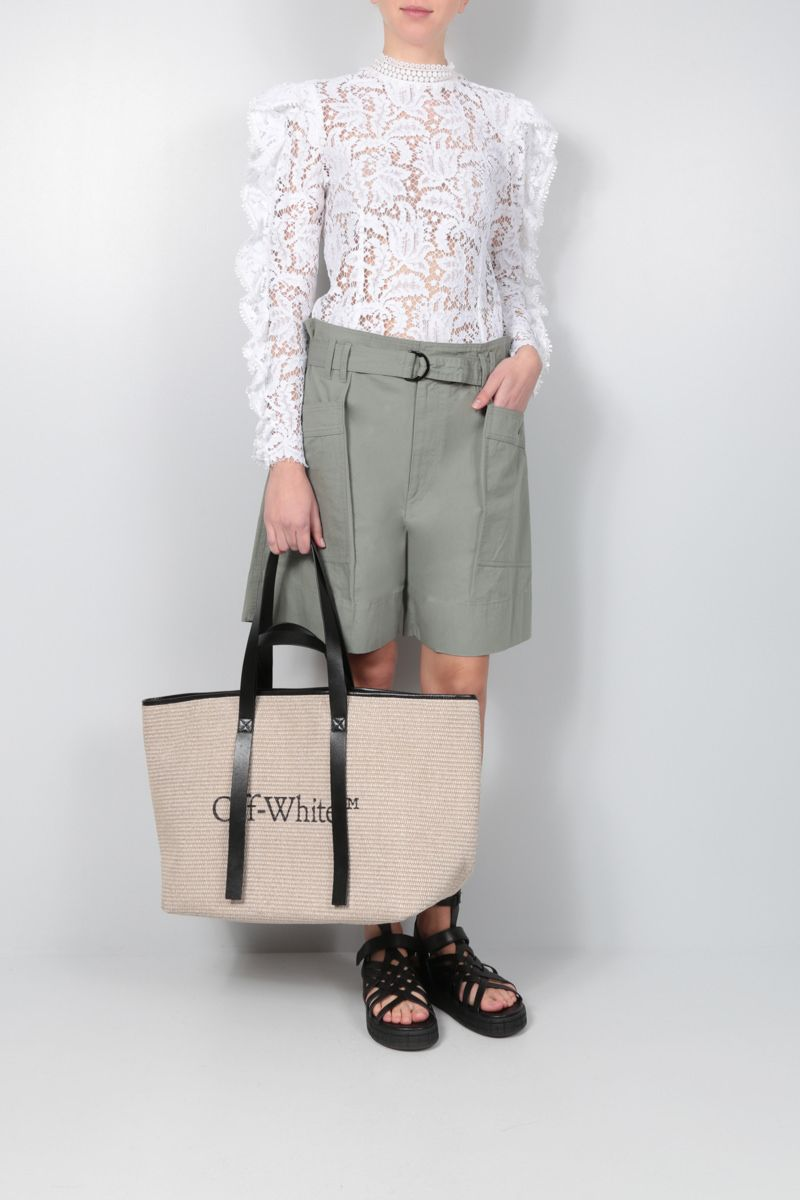 OFF WHITE: woven canvas commercial tote bag Color Neutral_2