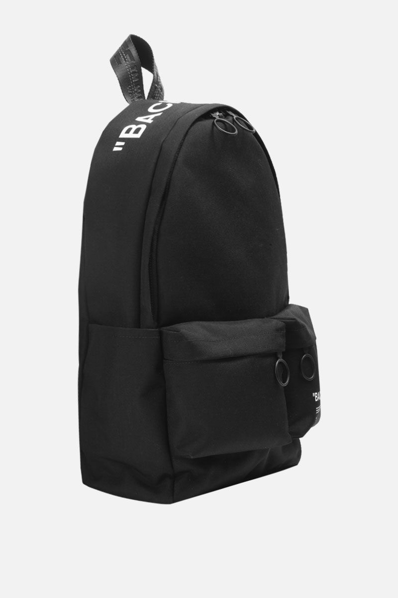 OFF WHITE: Quote canvas backpack Color Black_2