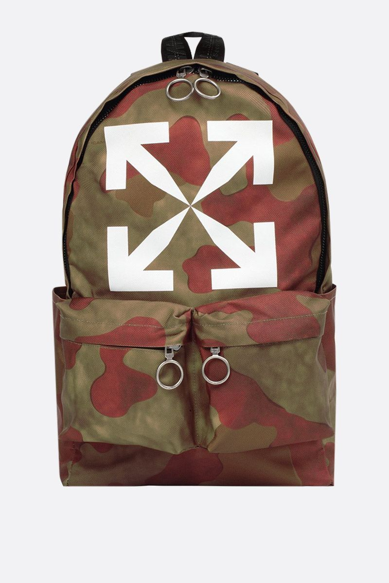OFF WHITE: Arrow printed camouflage nylon backpack Color Green_1