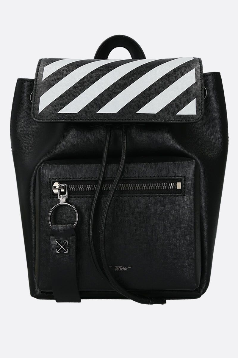 OFF WHITE: Diag Binder backpack in textured leather Color Black_1
