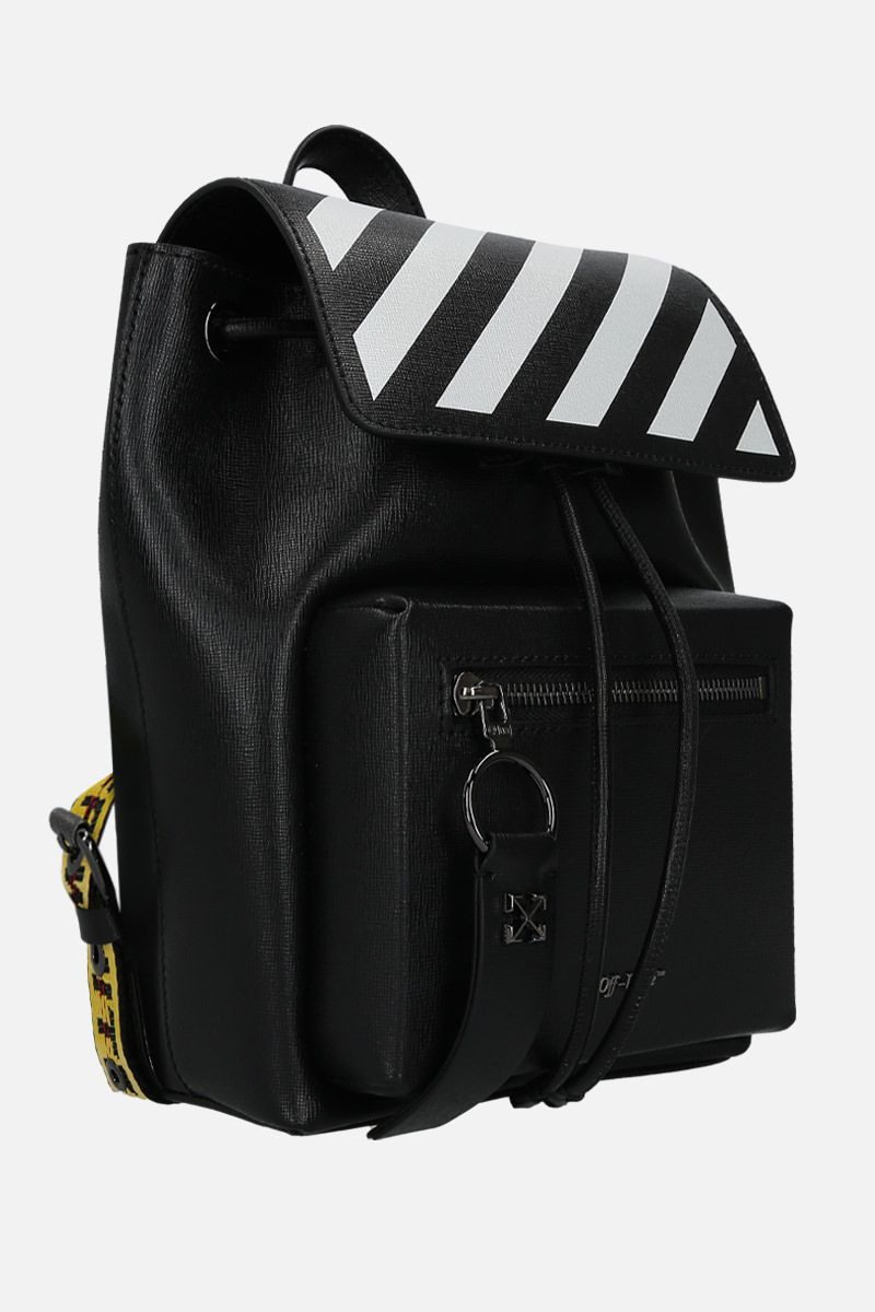 OFF WHITE: Diag Binder backpack in textured leather Color Black_2