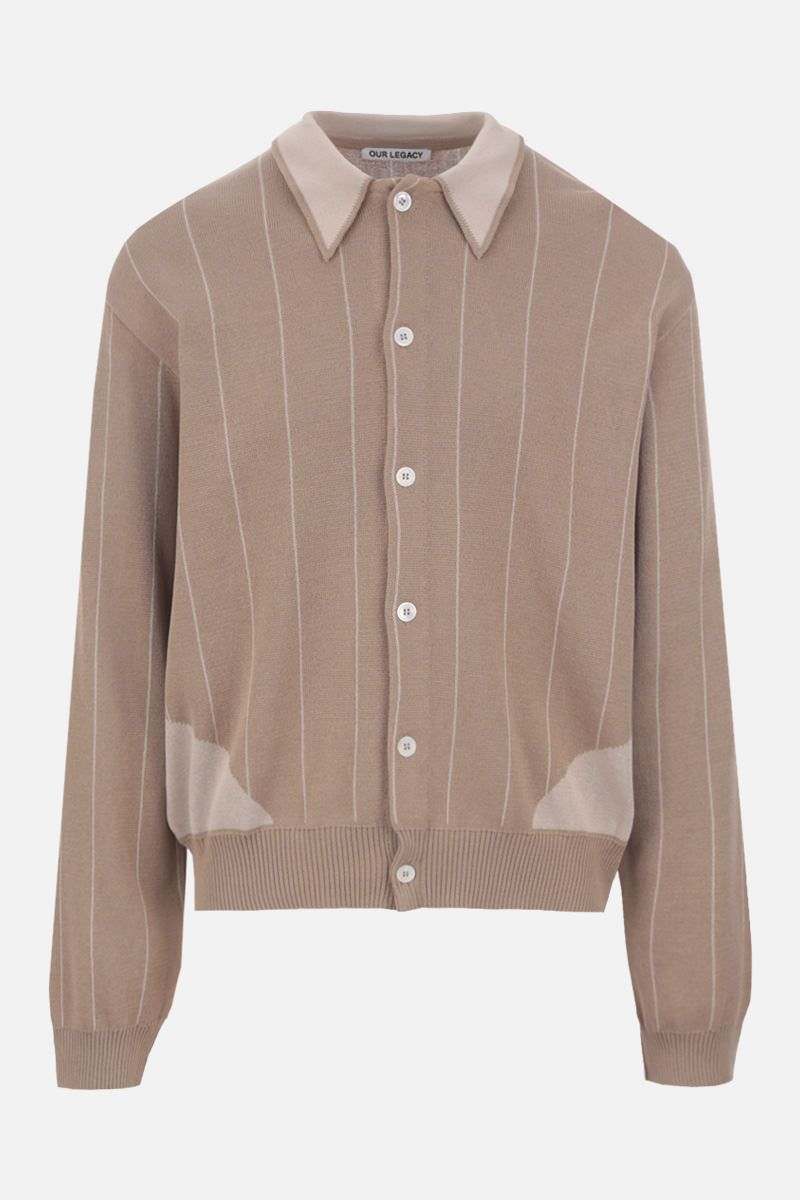 OUR LEGACY: striped cotton blend cardigan_1