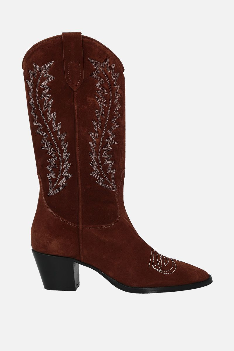 PARIS TEXAS: embroidered suede western boots Color Brown_1