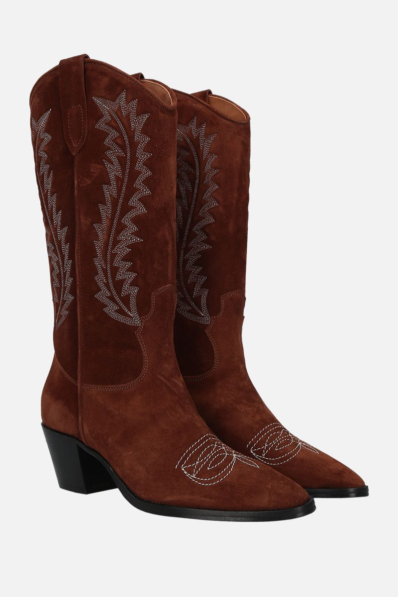 PARIS TEXAS: embroidered suede western boots Color Brown_2