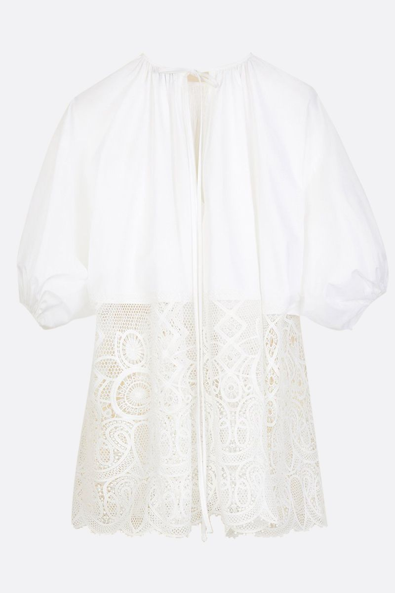 PATOU: cotton and lace oversize blouse Color White_1