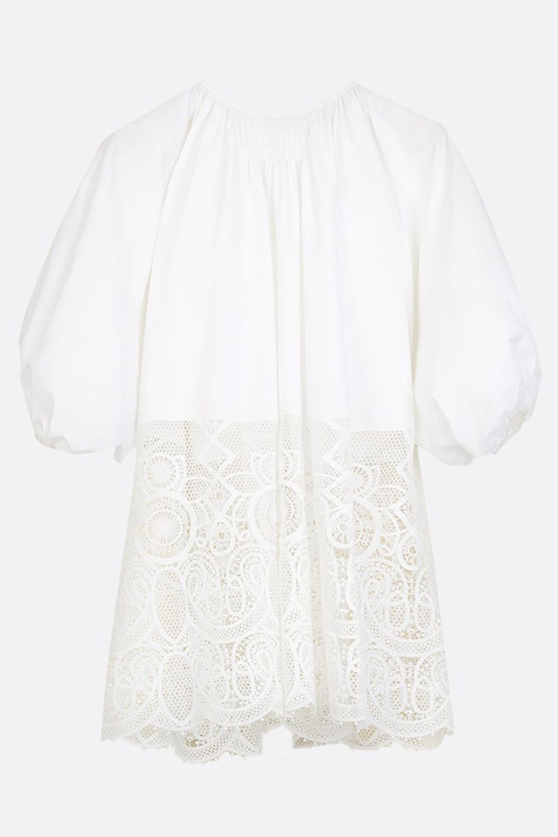 PATOU: cotton and lace oversize blouse Color White_2