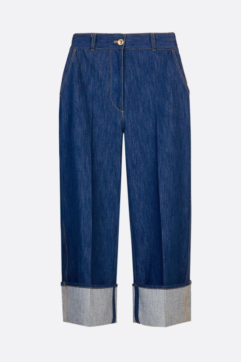 PATOU: turn-up detailed straight-leg jeans Color Blue_1