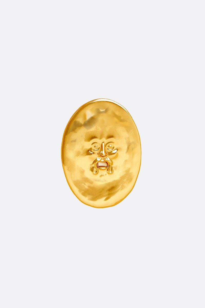 PATOU: hammered brass face brooch Color Gold_1