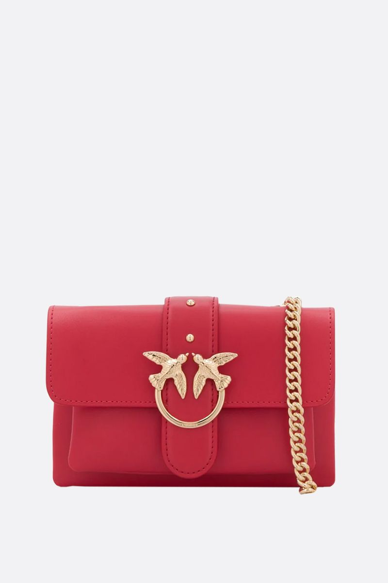 PINKO: baby Love Soft Simply smooth leather shoulder bag Color Red_1