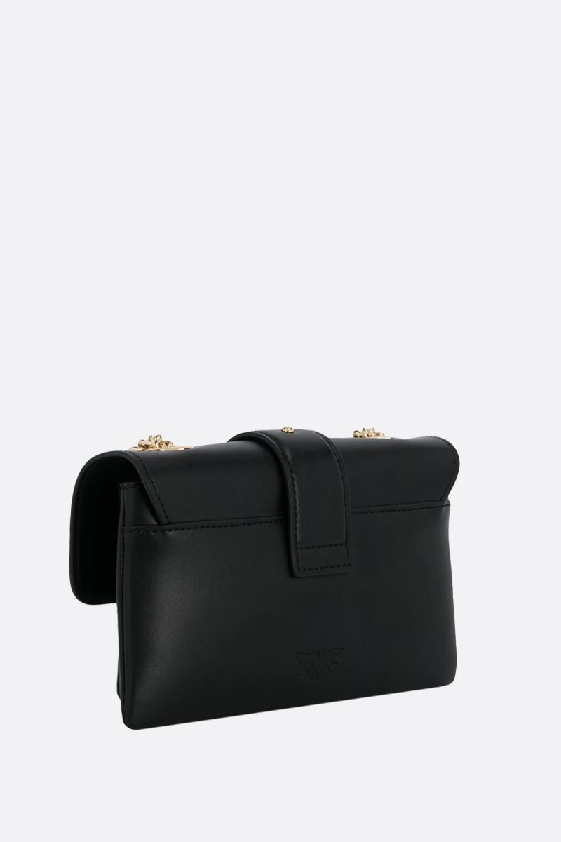 PINKO: baby Love Soft Simply smooth leather shoulder bag Color Black_2