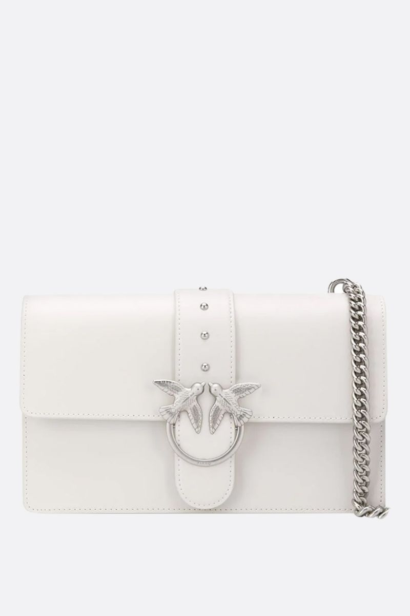 PINKO: Love Classic Simply smooth leather shoulder bag Color White_1