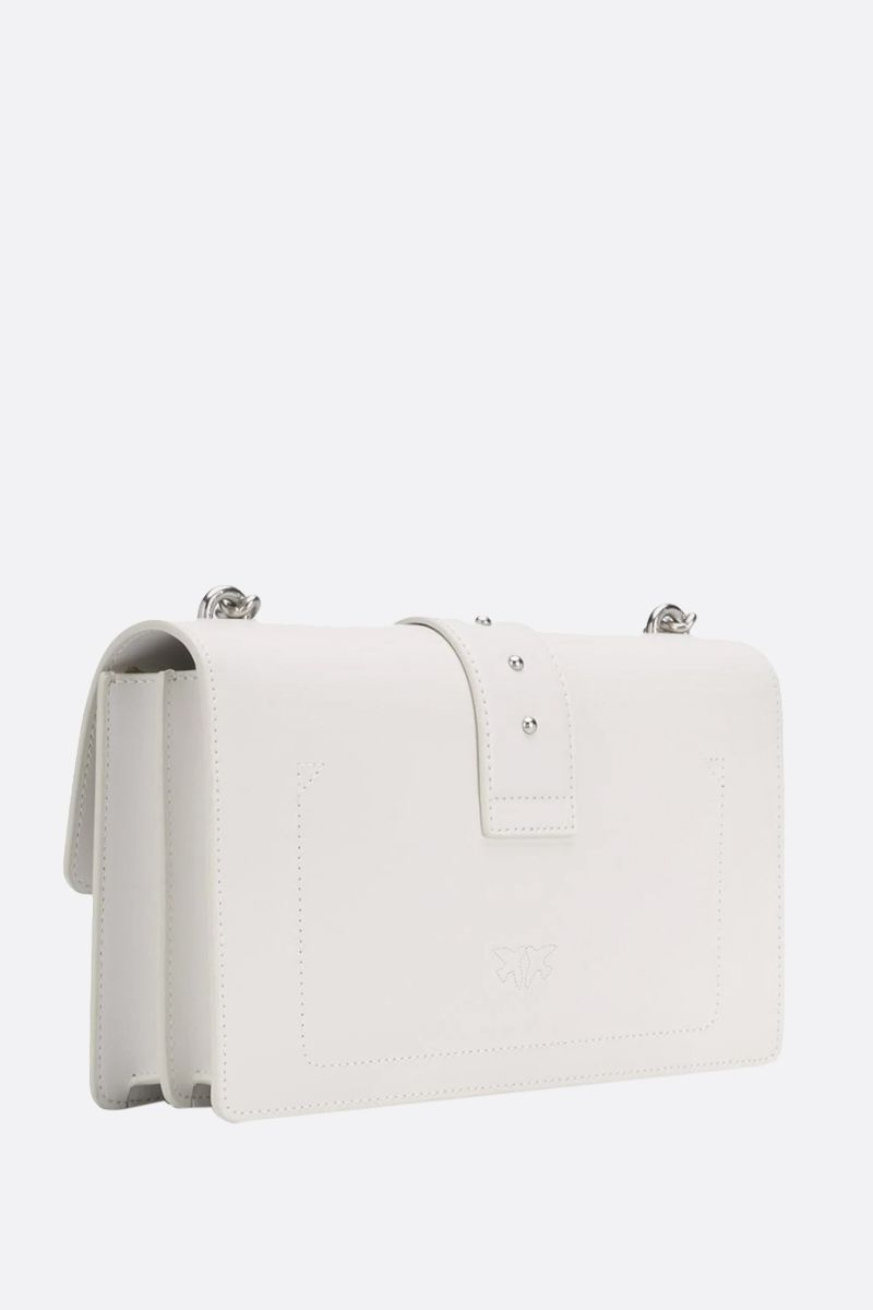 PINKO: Love Classic Simply smooth leather shoulder bag Color White_2