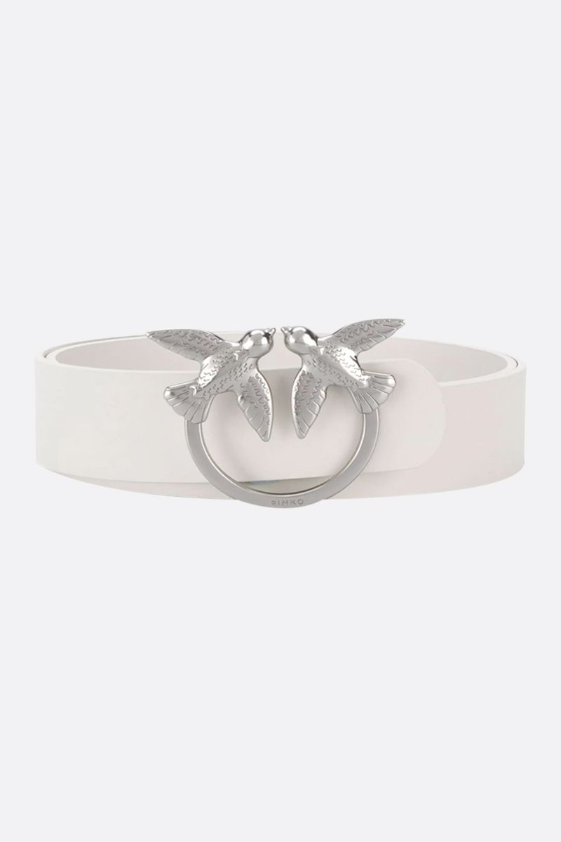 PINKO: Berry Simply smooth leather belt Color White_1