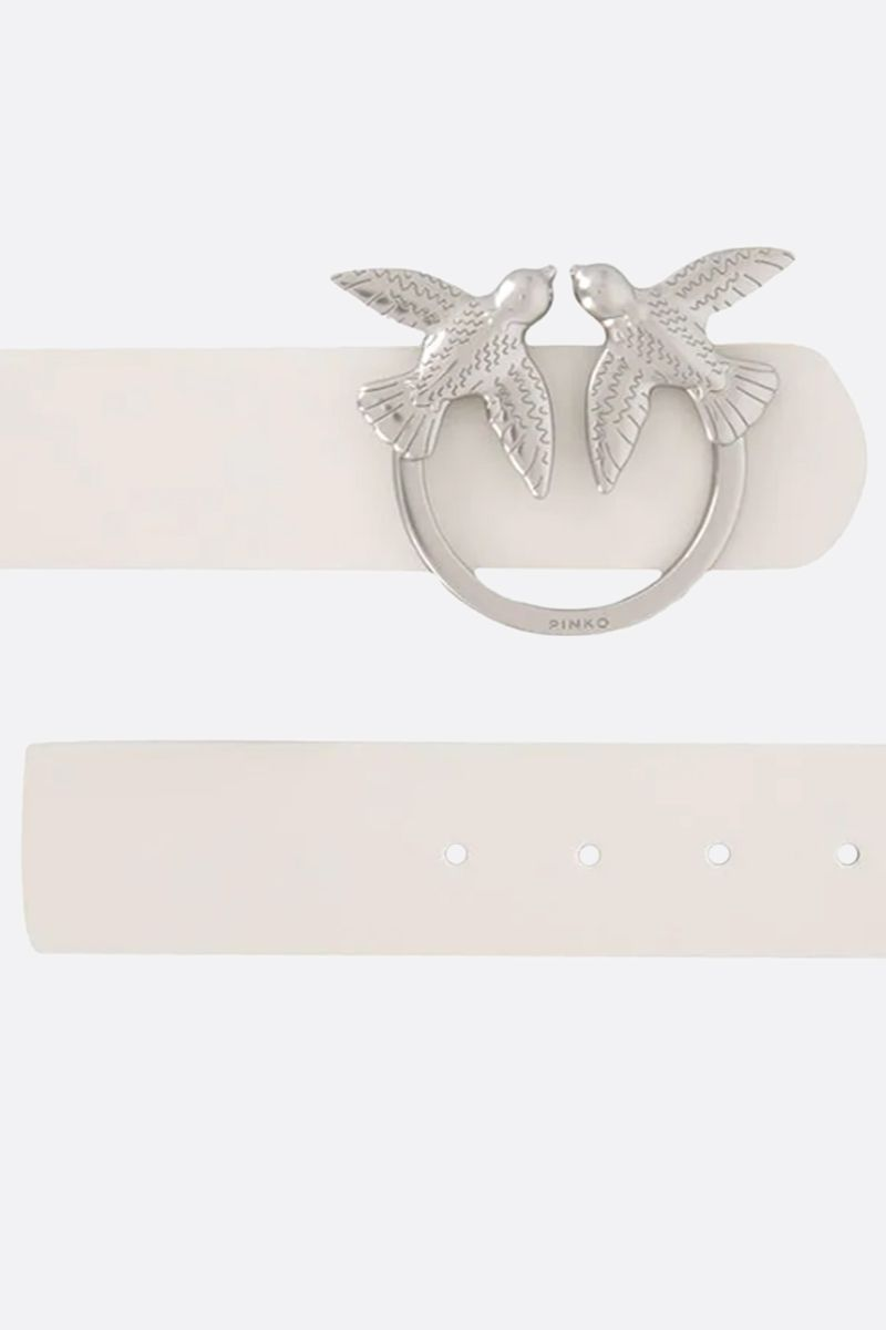 PINKO: Berry Simply smooth leather belt Color White_2