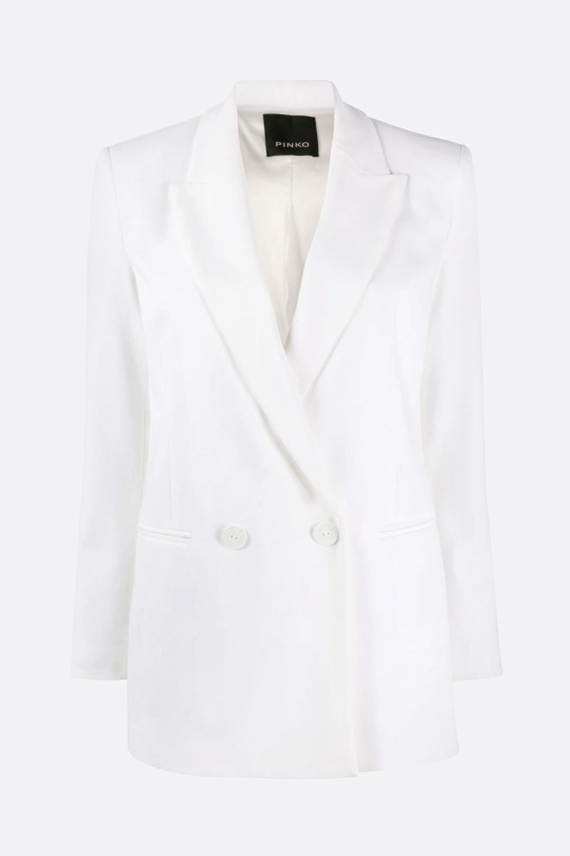 PINKO: Bavarese stretch crepe double-breasted jacket Color White_1