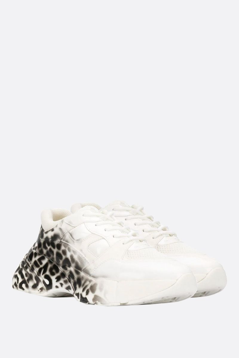 PINKO: Rubino leopard print faux leather sneakers Color White_2