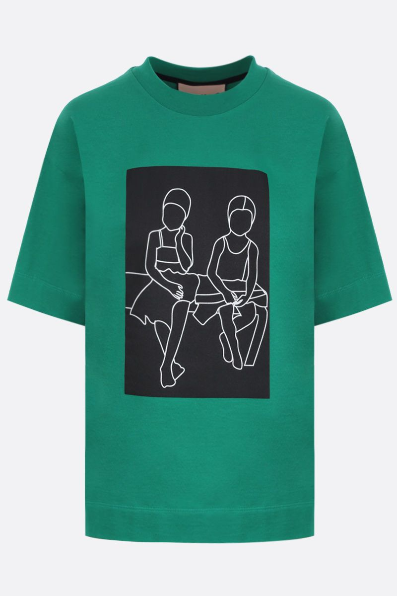 PLAN C: graphic printed cotton t-shirt Color Green_1