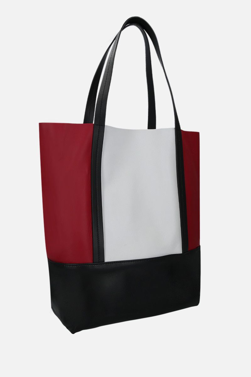 PLAN C: borsa shopping small in nappa colour-block Colore Rosso_2