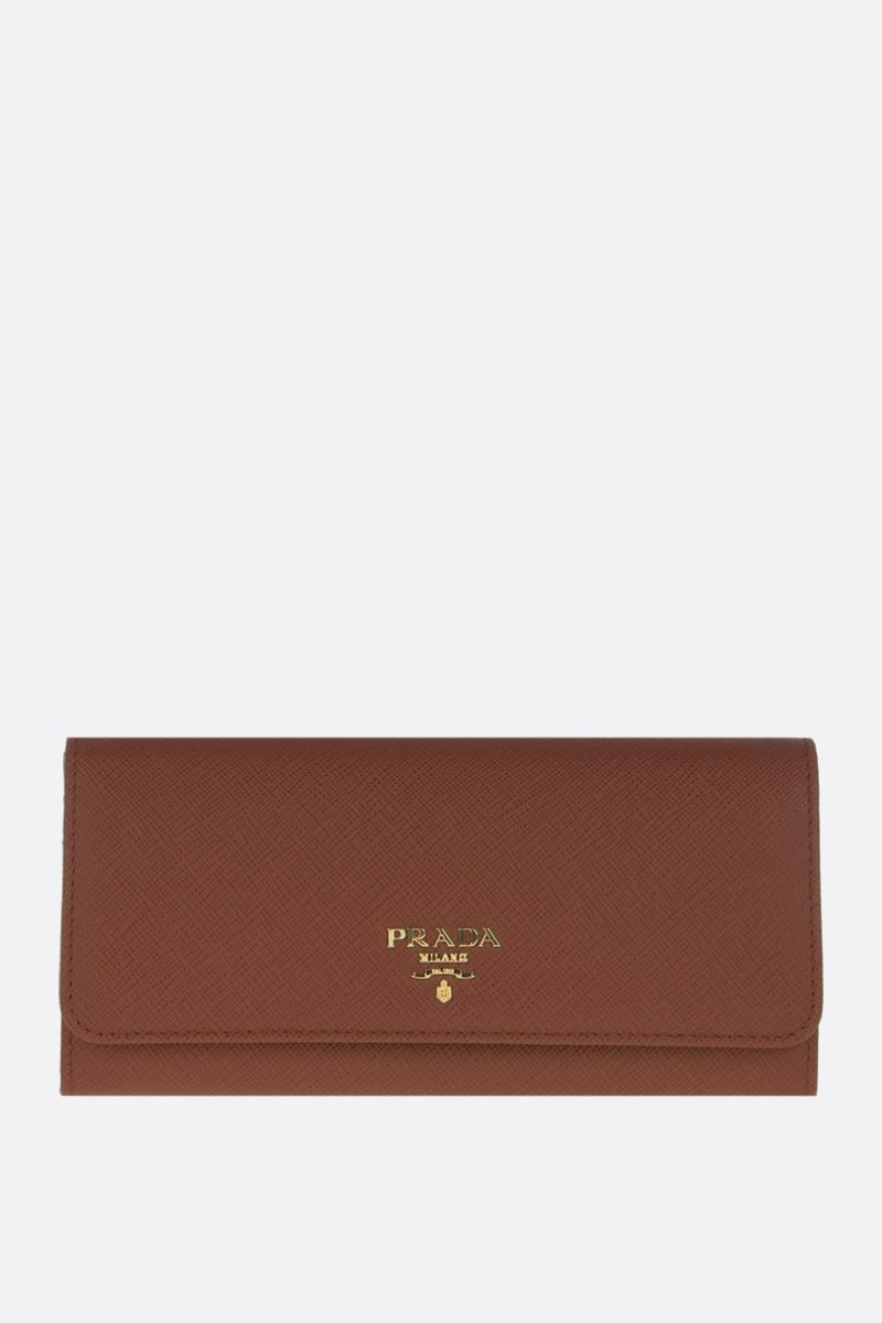 PRADA: Saffiano leather continental wallet Color Brown_1