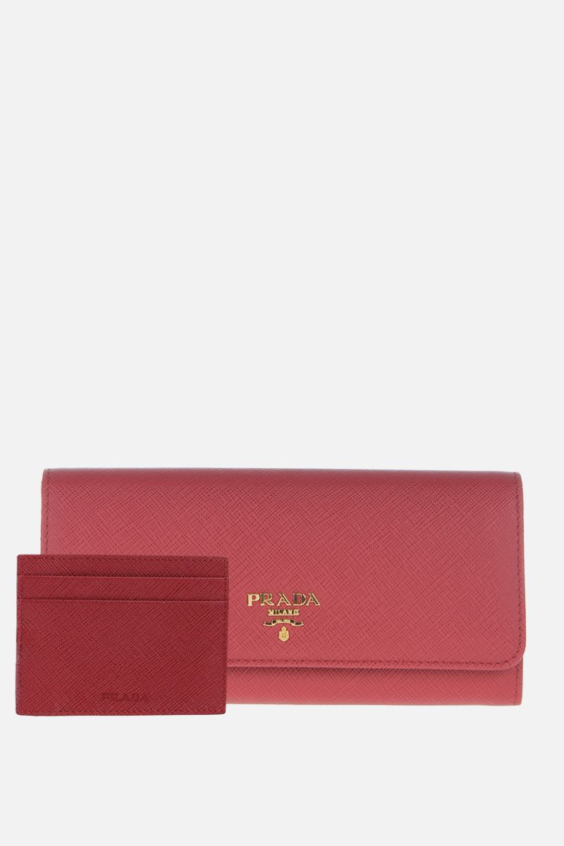 PRADA: Saffiano leather continental wallet Color Red_2