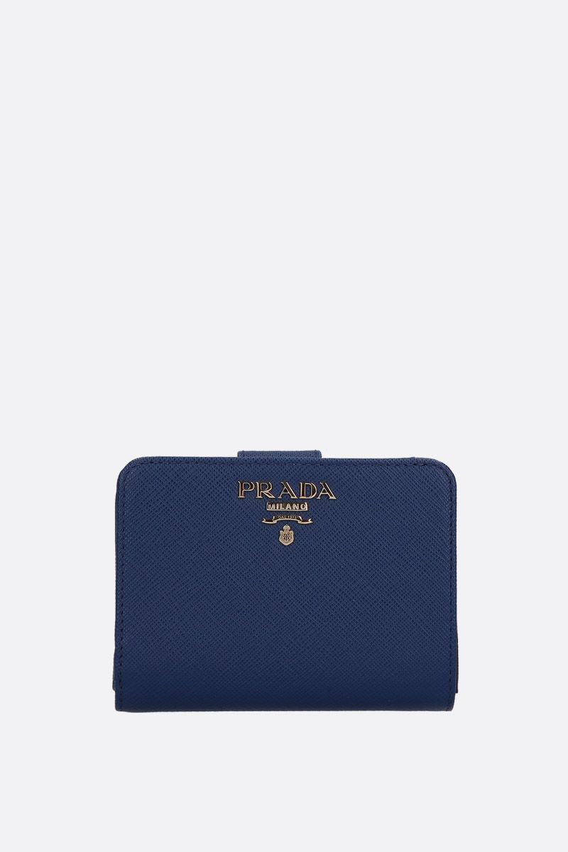 PRADA: Saffiano leather small wallet Color Blue_1