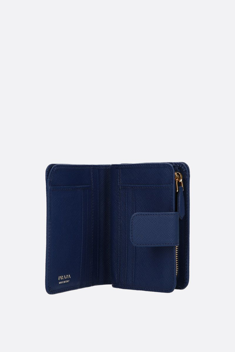 PRADA: Saffiano leather small wallet Color Blue_2