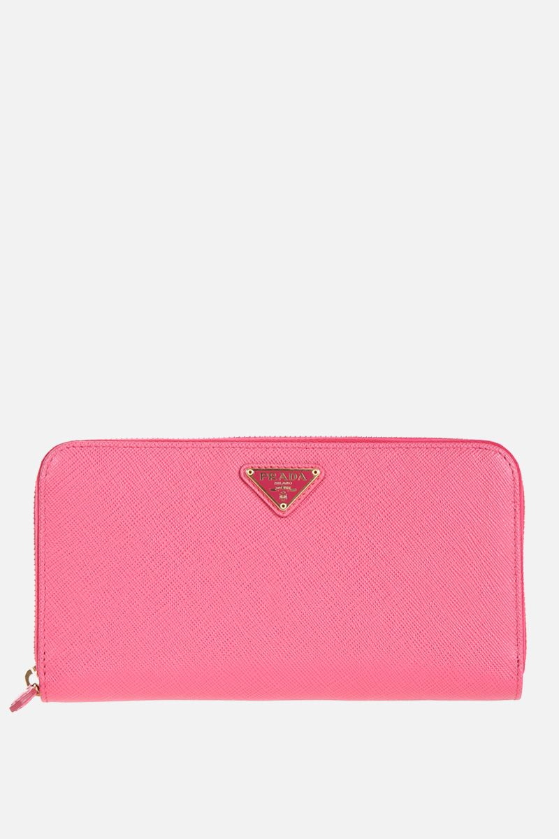 PRADA: Saffiano leather zip-around wallet Color Pink_1