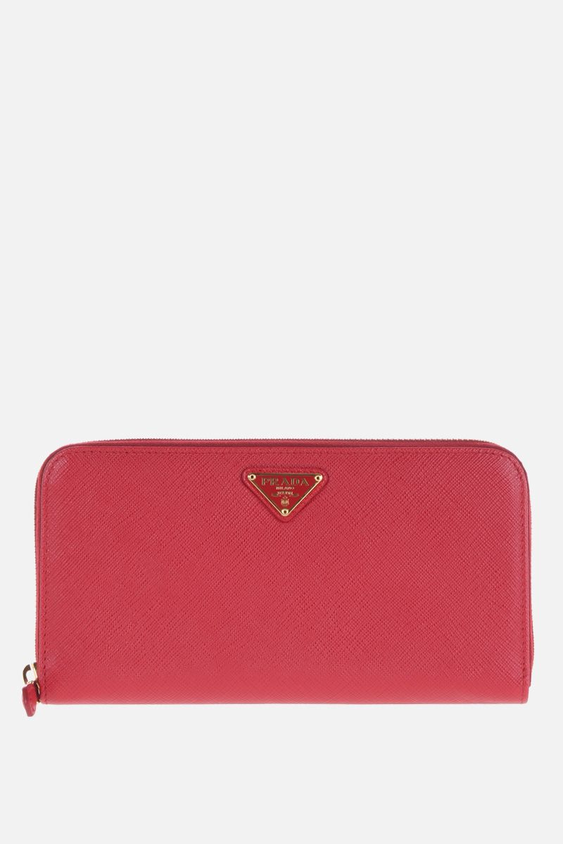 PRADA: Saffiano leather zip-around wallet Color Red_1