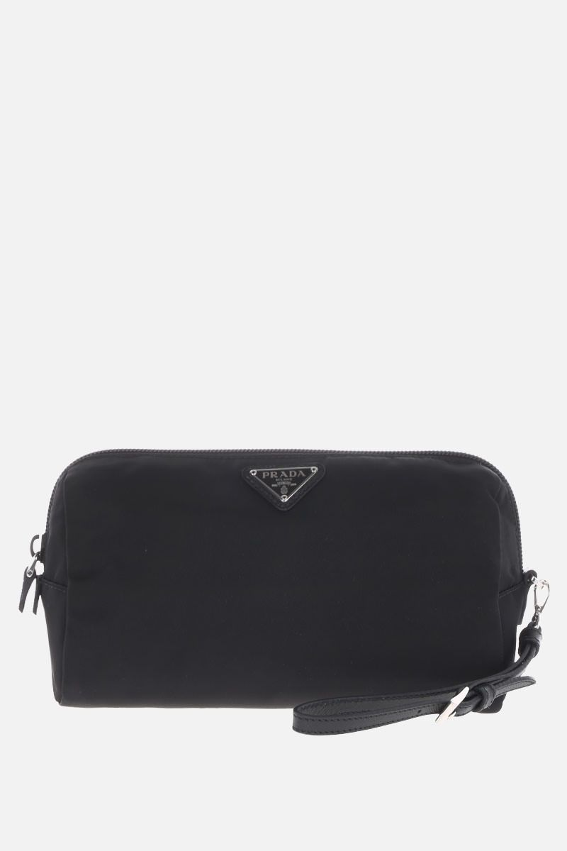 PRADA: Saffiano leather-detailed nylon beauty case Color Black_1