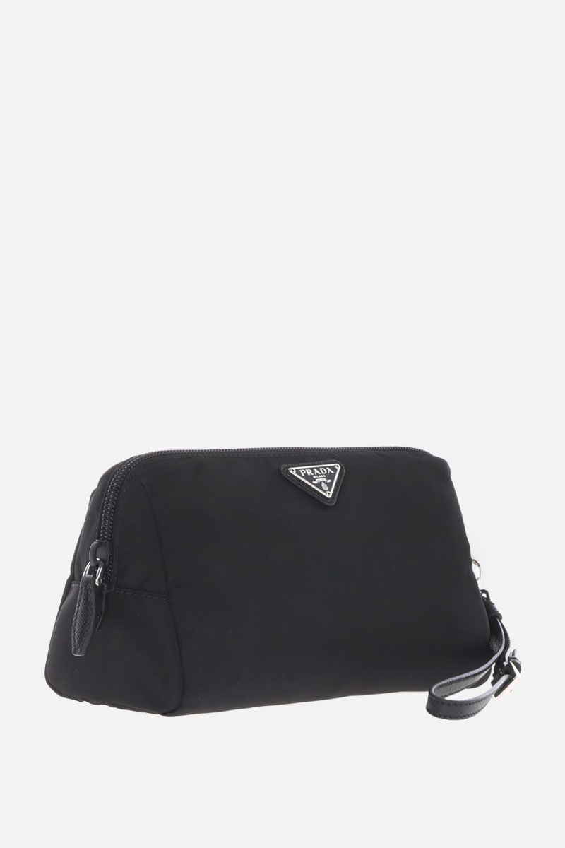 PRADA: Saffiano leather-detailed nylon beauty case Color Black_2