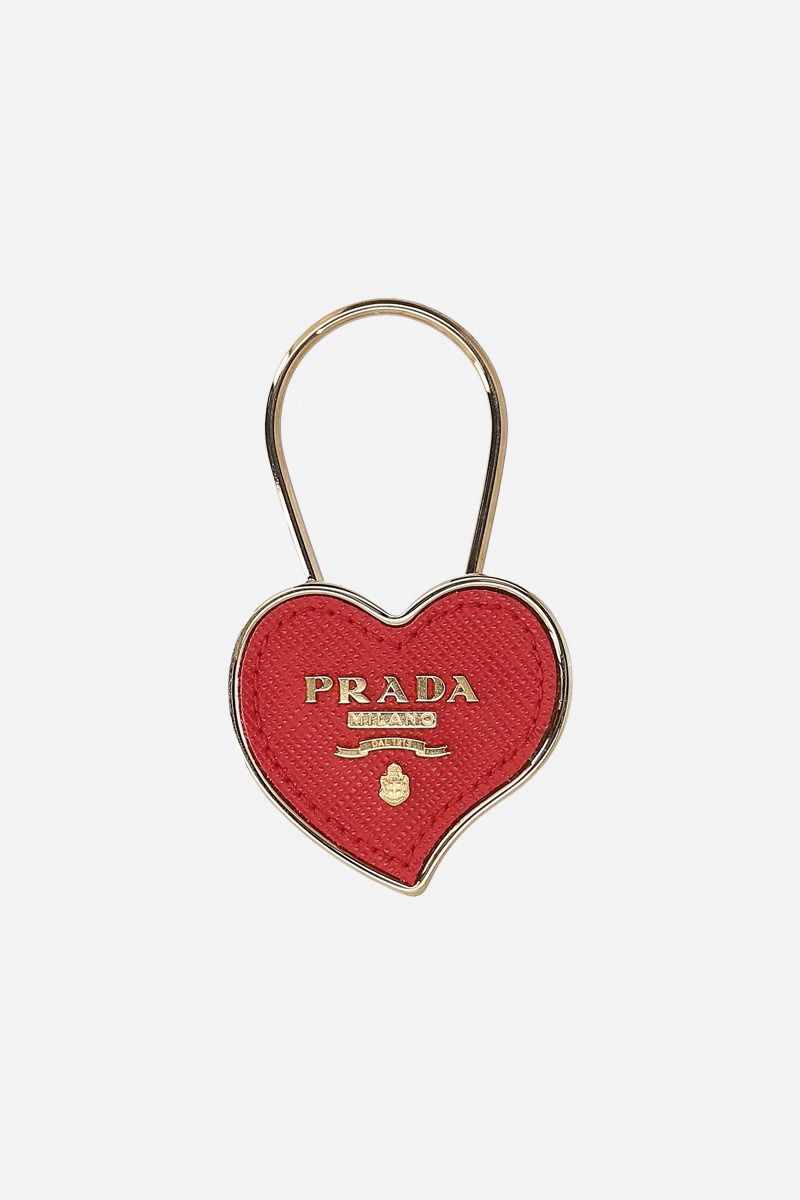 PRADA: Saffiano leather heart key holder Color Red_1
