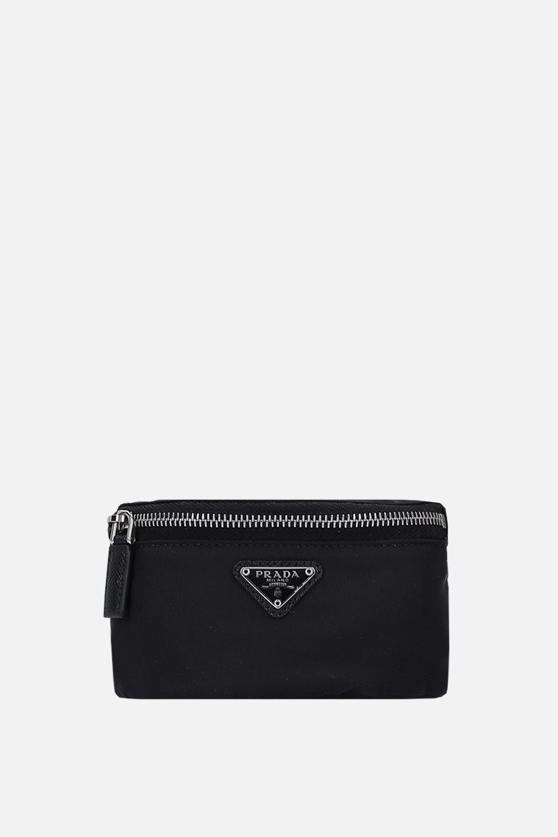 PRADA: Saffiano leather-detailed nylon arm fanny pack Color Black_1